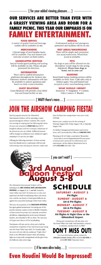 JOIN THE AIRSHOW CAMPING FIESTA! Abbotsford International Airshow (Writing, Design)